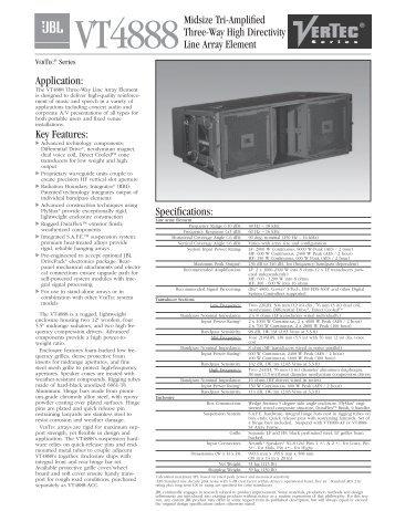 VT4888 Spec Sheet - JBL Professional