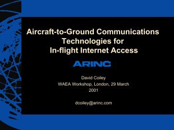 Aircraft-to-Ground Communications Technologies for In-flight ...