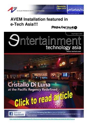 AVEM Installation featured in e-Tech Asia!!! - AV Electronics ...