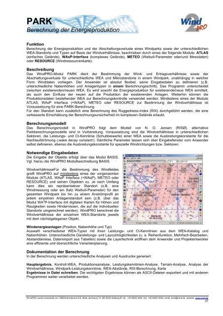 PARK Berechnung der Energieproduktion