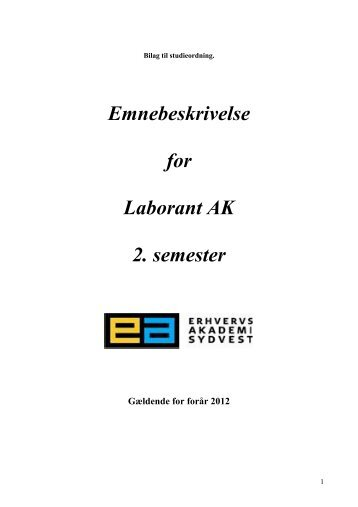 Emnebeskrivelse for Laborant AK 2. semester