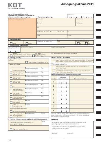 Ansøgningsskema 2011