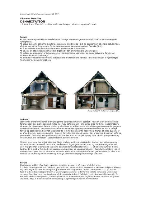 DEHABITATION - Rum - Arkitektskolen Aarhus