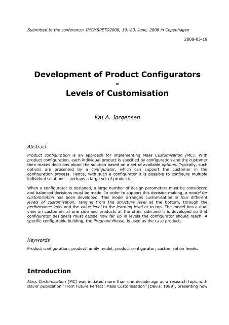 Development of Product Configurators - Levels of Customisation