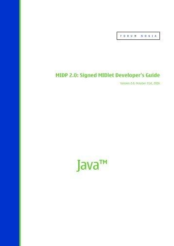MIDP 2.0: Signed MIDlet Developer's Guide