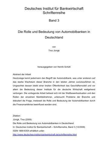 Deutsches Institut für Bankwirtschaft Schriftenreihe