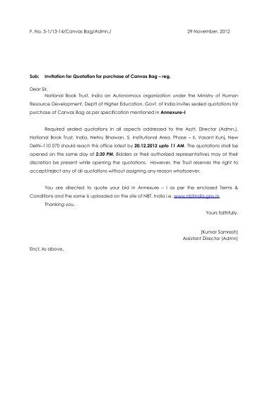 Quotation For Purchase Of Computers - Reg. - Ministry Of Micro