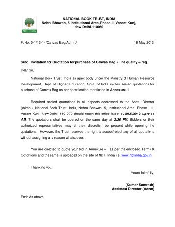 Invitation For Quotation For Purchase Of Canvas Bag  Reg