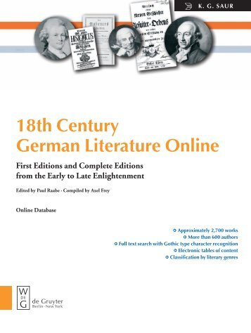18th Century German Literature Online First ... - Walter de Gruyter