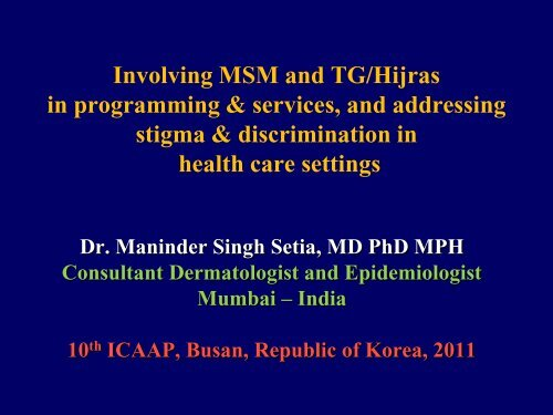 Involving MSM and TG/Hijras in programming & services, and
