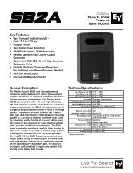 SB2A Engineering Data Sheet 403 KB | 7 August 2009 - Electro-Voice