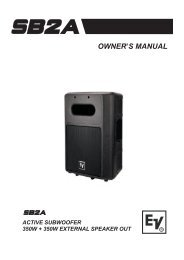 SB2A Owner's Manual 931 KB | 25 March 2009 - Electro-Voice