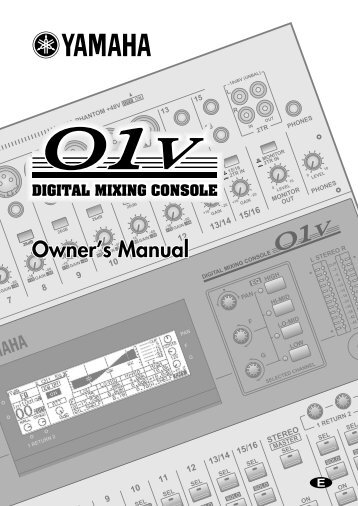 Yamaha 01v Manual - Pro Sound & Lighting