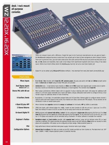 Download Data Sheet - Pro Sound & Lighting