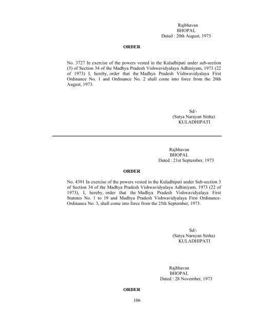Revised Ordinance Rani Durgavati Vishwavidyalaya