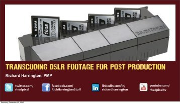 Transcoding DSLR footage for Post Production - Richard Harrington ...