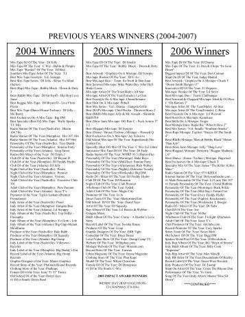 previous years winners (2004-2007) - Southern Entertainment Awards