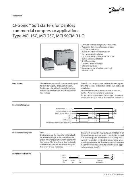 CI-tronic™ Soft starters for Danfoss commercial compressor ... on