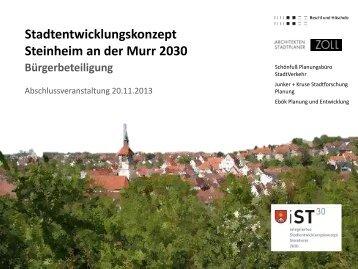 Präsentation Bürgerwerkstatt - Stadt Steinheim an der Murr