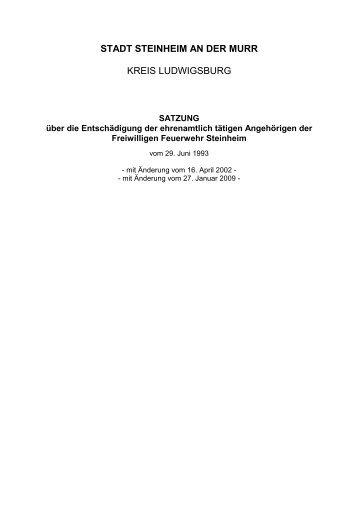 Entschädigungssatzung - Stadt Steinheim an der Murr