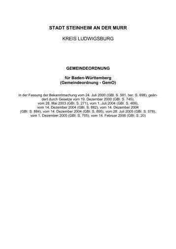 STADT STEINHEIM AN DER MURR KREIS LUDWIGSBURG