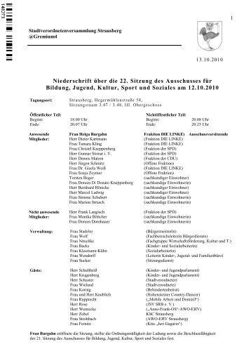 Niederschrift über die 22. Sitzung des ... - Stadt Strausberg