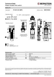 Technical Data Plastic bodied limit switch - F.wood-supply.dk
