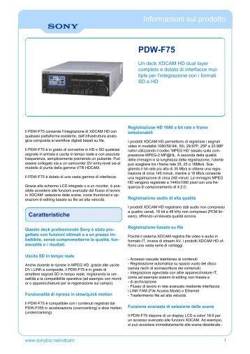 Manufacturer Data Sheet Sony PDWF75 XDCAM HD [ 93 Kb]