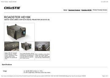 Printer Friendly - Roadster HD18K - All Video System S.r.l.