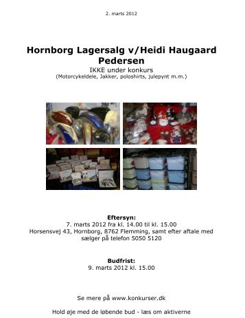 Hornborg Lagersalg v/Heidi Haugaard Pedersen - konkurser.dk