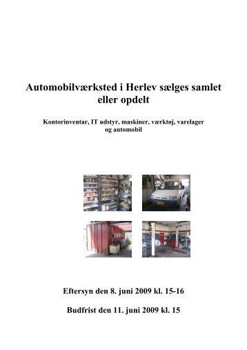 Automobilværksted i Herlev sælges samlet eller opdelt - konkurser.dk