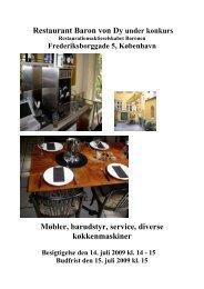 Restaurant Baron von Dy under konkurs Møbler ... - konkurser.dk