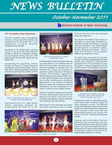 October - November - 2011 - The National Institute of Open Schooling