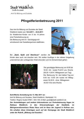 Flyer Pfingstferienbetreuung 2011 - Stadt Waldkirch
