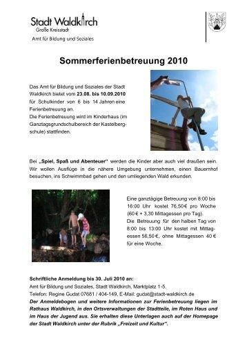 Sommerferien 2010 Flyer - Stadt Waldkirch