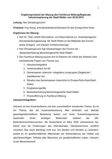 Protokoll der 2. Sitzung des Fachforums - Stadt Wetter