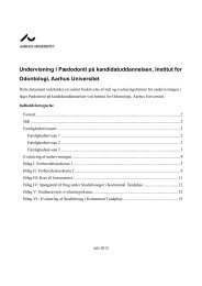 Undervisning i Pædodonti på kandidatuddannelsen, Institut - Aarhus ...