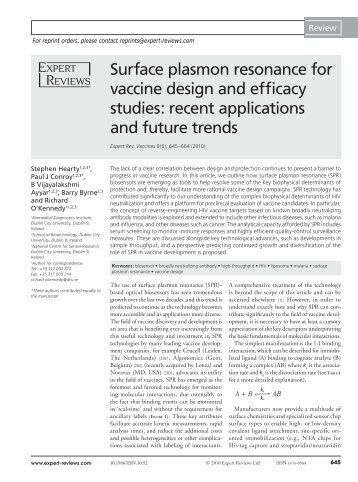 Surface plasmon resonance for vaccine - Dublin City University