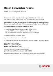 Bosch Dishwasher Rebate - Appliances Online