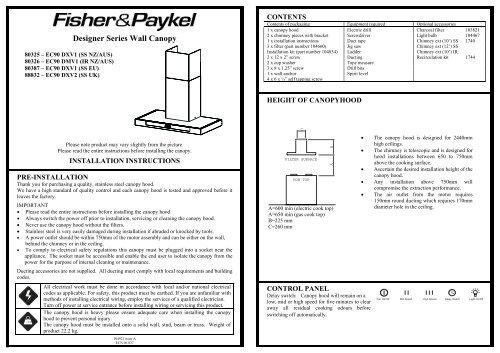 Designer Series Wall Canopy - Appliances Online