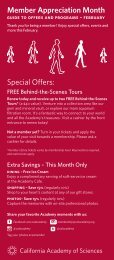 Member Appreciation Month Special Offers: - California Academy of ...