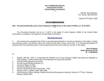 Provisional Seniority List of Junior Engineers - Central Water ...