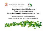 Directive on landfill of waste Progress in developing Directive ...