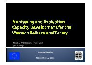 WB Update on Monitoring and Evaluation in Western Balkans and ...