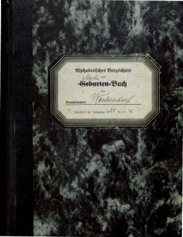 Sterberegister der Jahre 1921 - 1978