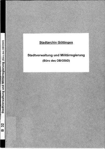 PDF-Findbuch - Stadtarchiv Göttingen - Stadt Göttingen