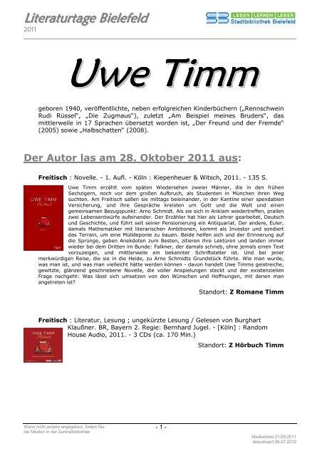 Uwe Timm Las Am 28 Oktober Stadtbibliothek Bielefeld