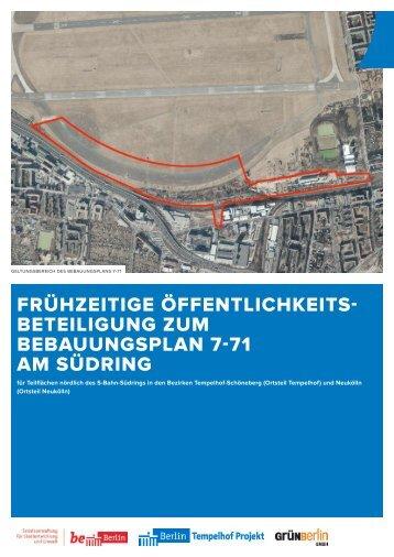 Frühzeitige Öffentlichkeitsbeteiligung zum Bebauungsplan 7-71 am ...