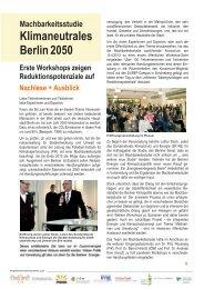 Machbarkeitsstudie Klimaneutrales Berlin 2050 - Erste Workshops