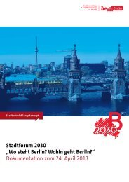 "Stadtforum 2030 ""Wo steht Berlin? Wohin geht Berlin ..."
